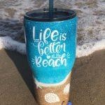 mug at beach